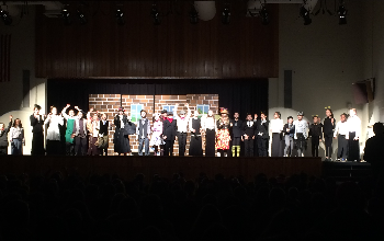 The cast of Mary Poppins Jr. musical are on the stage for the final bows.
