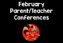 February Parent/Teacher Conferences in white text with the MacArthur Raccoon logo