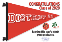 Congratulations District 23 Class of 2020 Banner with Headline: Saluting this year's eighth grade graduates.