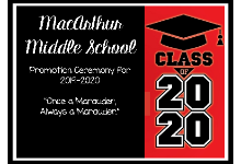 Invitation for MacArthur Middle School Class of 2020 Promotion Ceremony