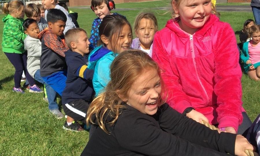 Kids playing tug-a-war