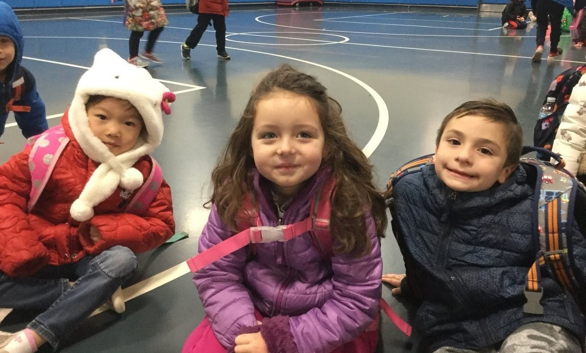 Kids bundled up for the winter