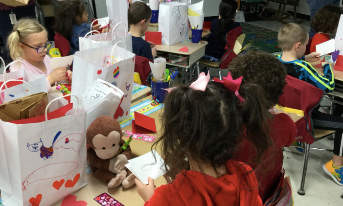 Ms. Garceau's Class creating a Valentine's Day craft