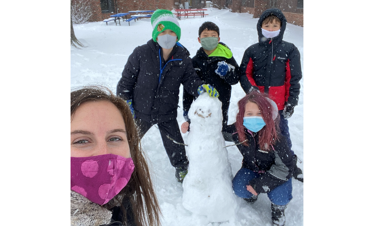Students with their snowman