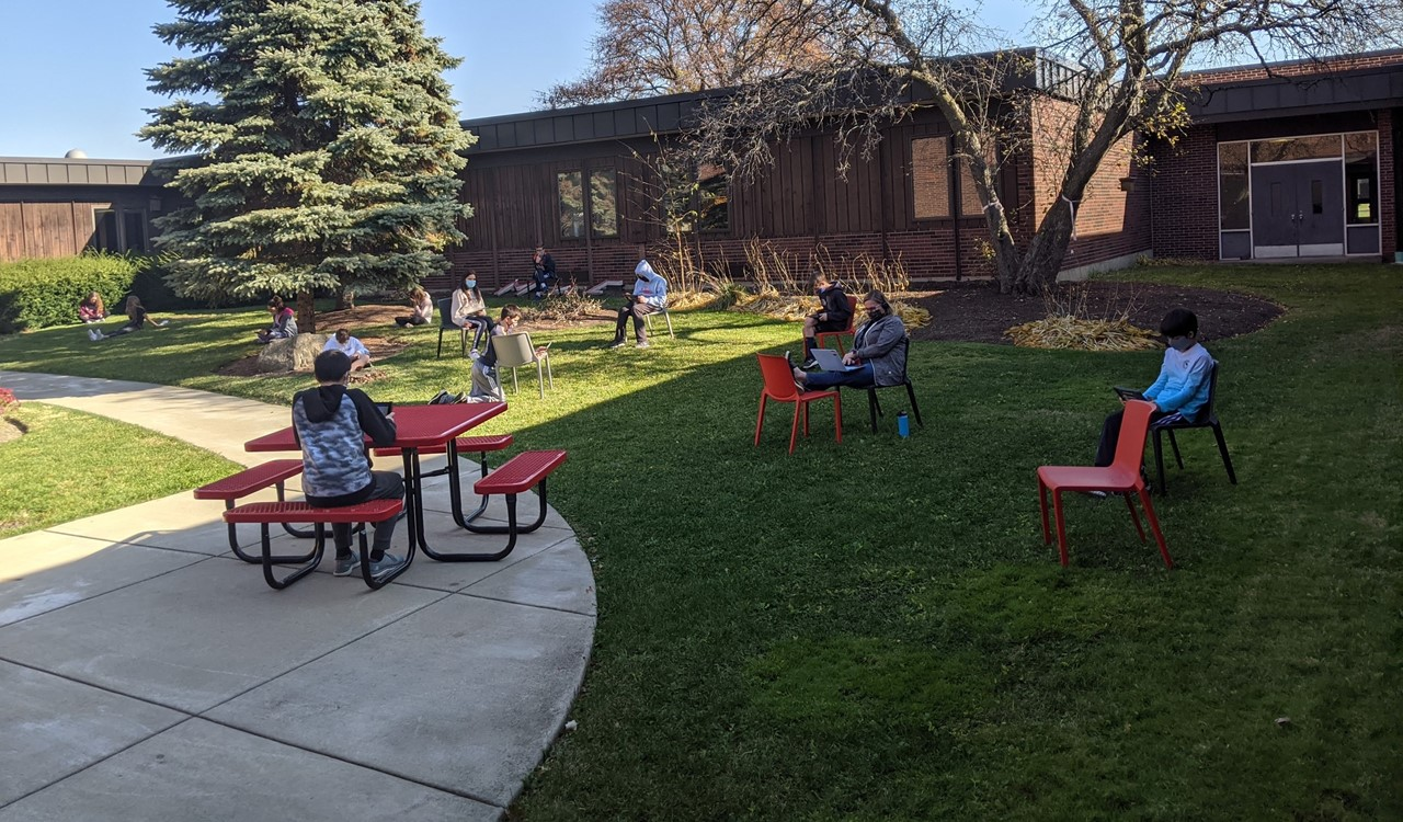 Students in courtyard