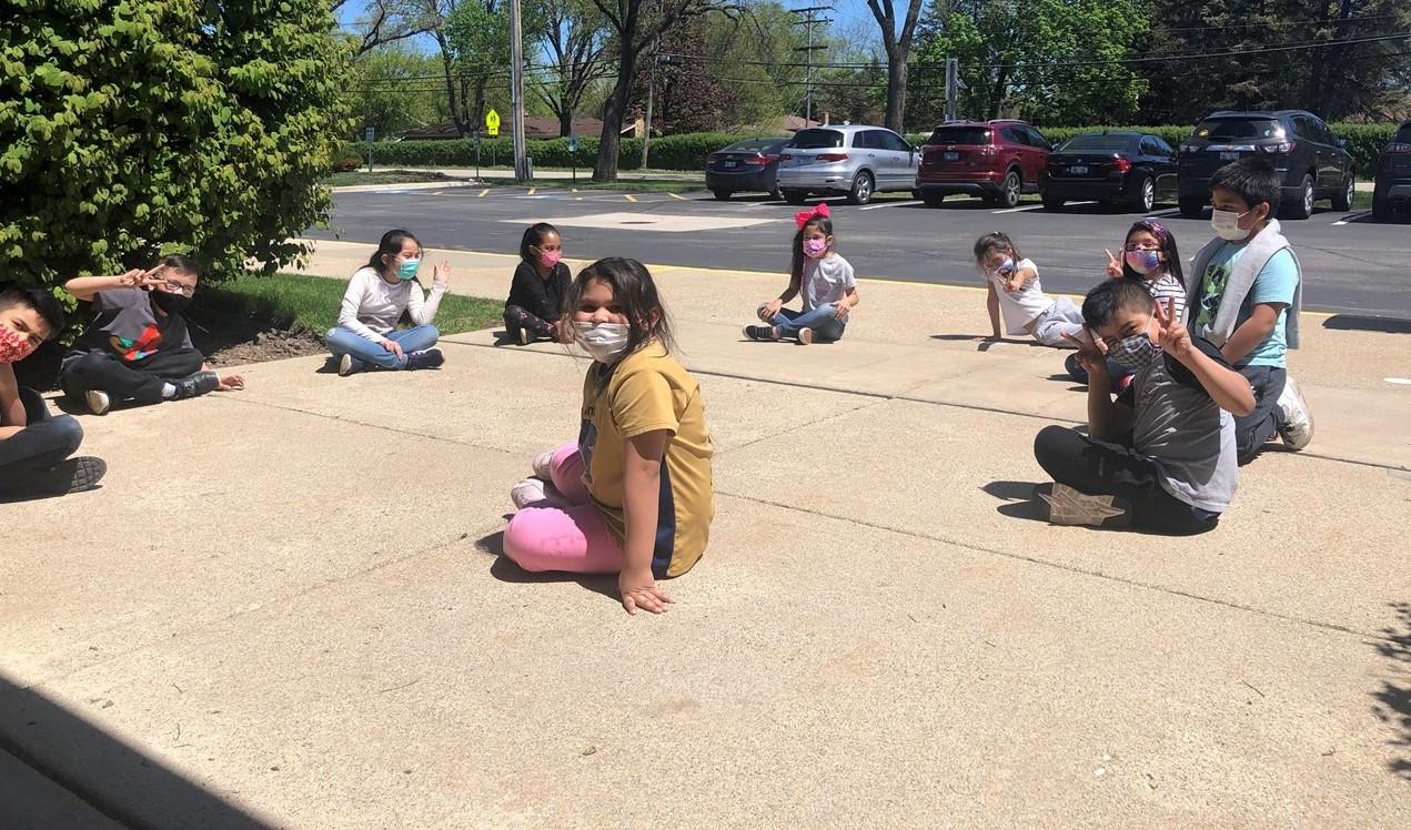 Students taking a break outside.